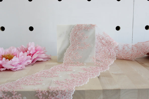 "1 YD of 7.5"" Coral/Off-White/Gold Floral Embroidered Tulle Lace Non-Stretch"