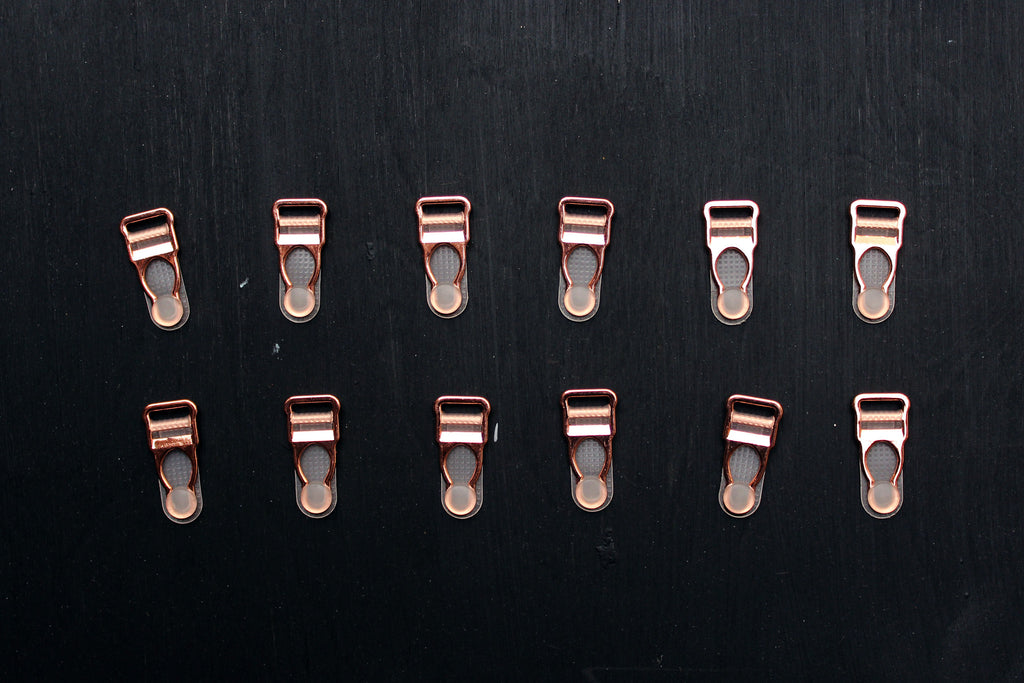 3 Sets (12 Pcs) Rose Gold Metal Garter Clips Lingerie Making