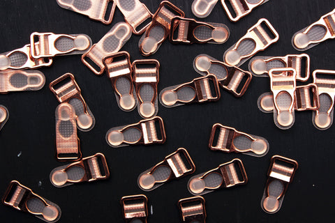 25 Sets (100 Pcs) Rose Gold Metal Garter Clips Lingerie Making