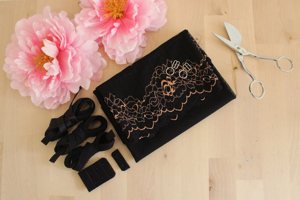 DIY Soft Bra Kit Black White Florals Black
