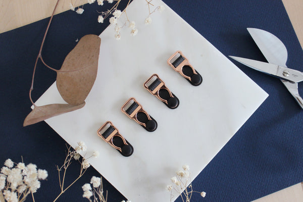 1 Set (4 Pcs) Rose Gold Metal Black Rubber Garter Clips Lingerie Making