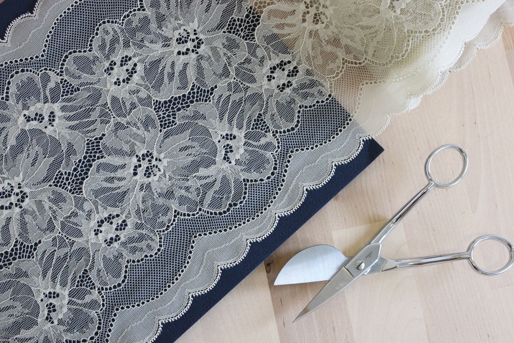 "1 YD of 8"" Sage Green Floral Stretch Lace for Bramaking Lingerie"