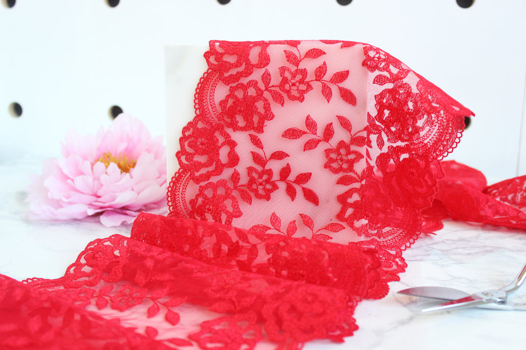 DIY Underwire Bra Kit Scarlet Red Embroidered Tulle Shell Pink