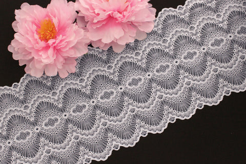 "1 YD Silver Gray Scallop 9.25"" Stretch Lace for Bramaking Lingerie"