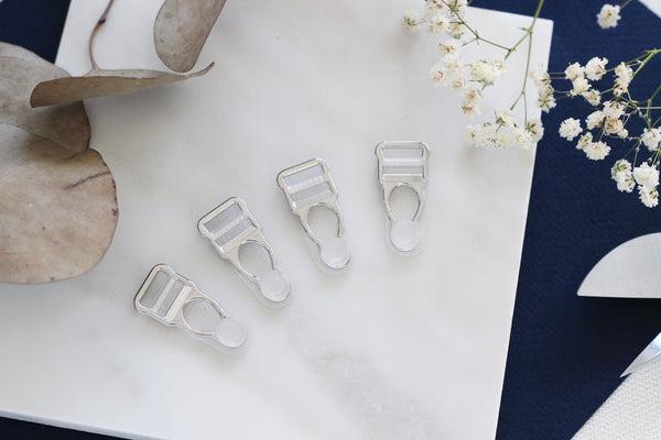1 Set (4 Pcs) Silver Metal Clear Rubber Garter Clips Lingerie Making