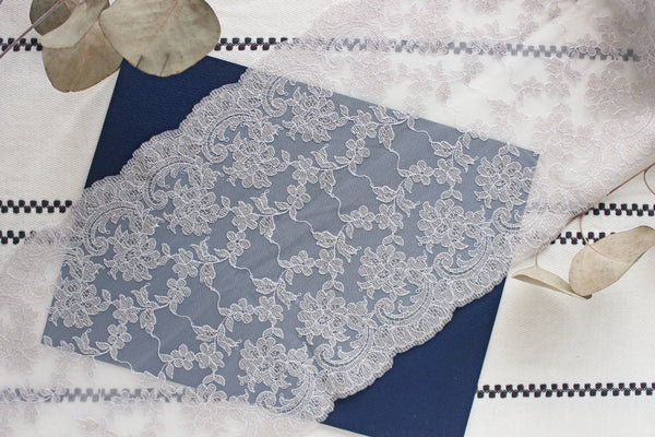 "1 YD of 9"" Silver/Light Gray Floral Embroidered Tulle Lace Slight Stretch"