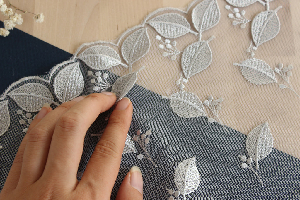 "1 YD of 9.25"" Silver/Gray Leaves Motif Embroidered Tulle Lace Non-Stretch"