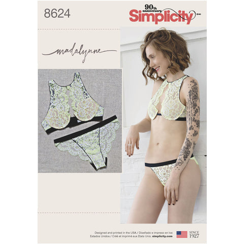 Madalynne x Simplicty 8624 High Neck Underwire Bra and Panties Pattern