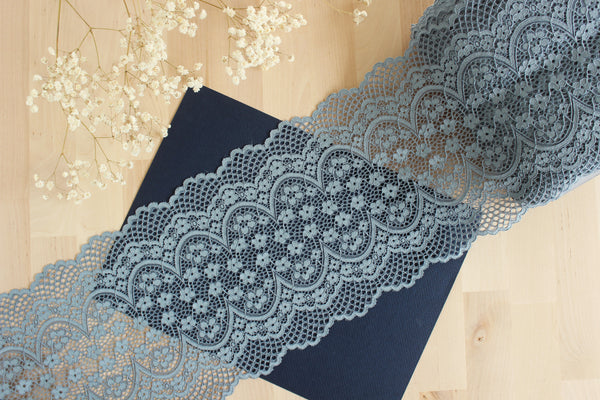 "1 YD of 8"" Slate Blue Crochet Floral Stretch Lace for Bramaking Lingerie"