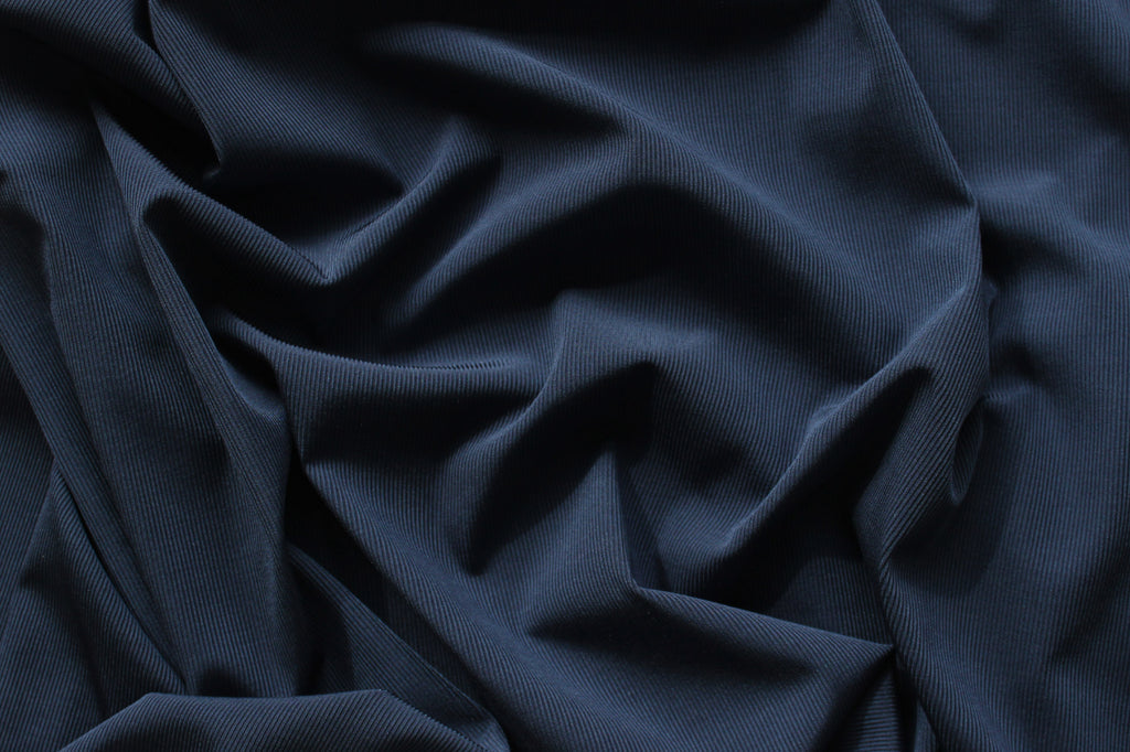 1/2 YD Space Blue Ribbed Swimwear Activewear Nylon Spandex Fabric