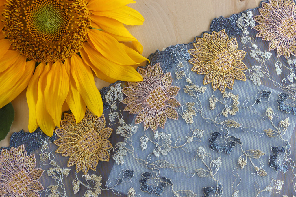"1 YD of 10.25"" Blue Multi Floral Embroidered Tulle Lace Non-Stretch"