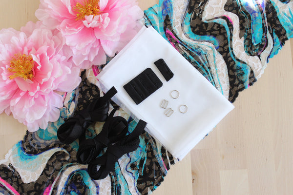 DIY Soft Bra Kit Black White Multi Abstract Swirls