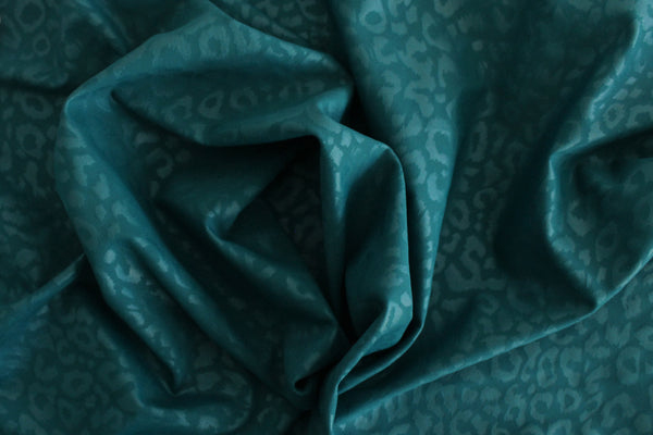 1/2 YD Teal Green Embossed Leopard Print Activewear Sport Lycra Polyester Spandex Fabric