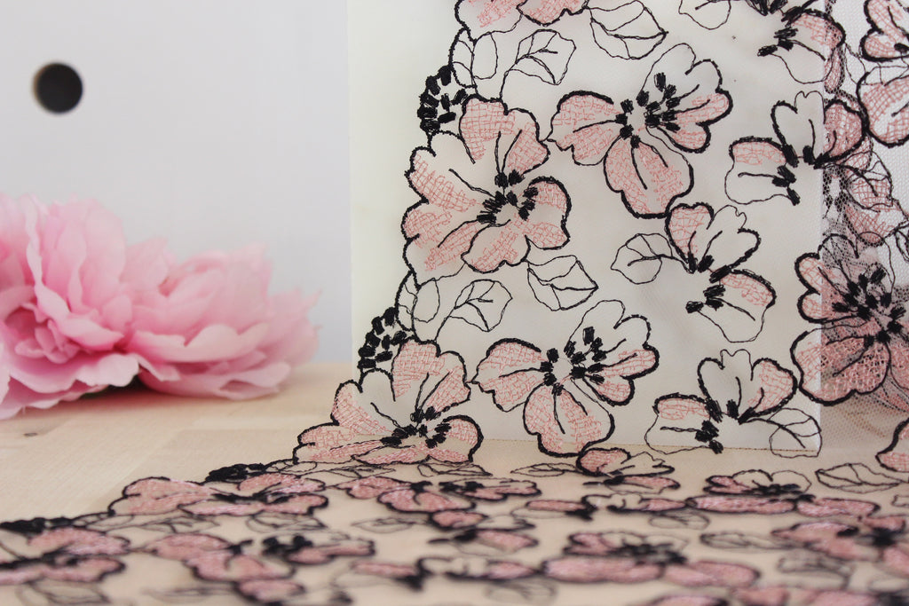 "1 YD of 9"" Black/Vintage Rose Floral Embroidered Tulle Lace Non-Stretch"