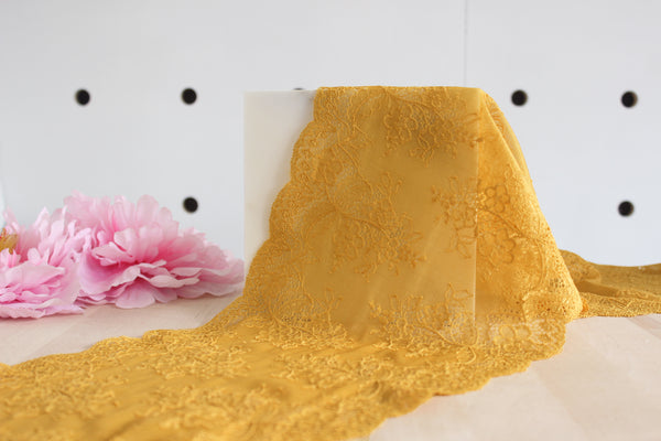 "1 YD of 8"" Warm Golden Yellow Floral Stretch Lace for Bramaking Lingerie"
