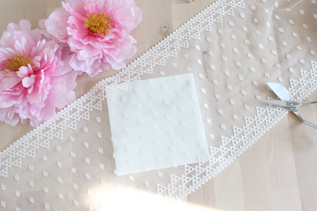 "1 YD of 9.25"" Warm White Geometric Embroidered Tulle Lace Non-Stretch"