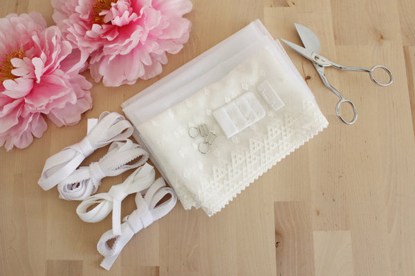 DIY Underwire Bra Kit Warm White Geometric Embroidered Tulle White