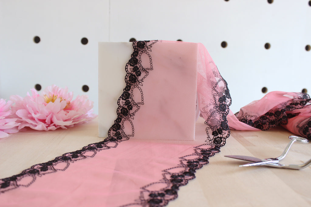 "1 YD of 6.5"" Watermelon Pink Black Floral Embroidered Tulle Lace Non-Stretch"