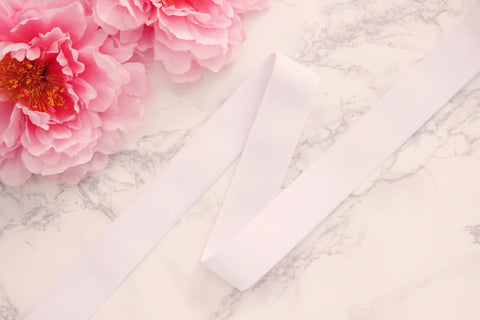 "1 3/8"" (35mm) White Plush Wide Elastic - Sold by the yard"