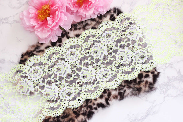"1 YD White Neon Yellow 8"" Stretch Lace for Bramaking Lingerie"