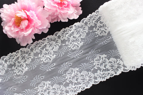 "1 YD 9"" White Floral Stretch Lace for Bramaking Lingerie"
