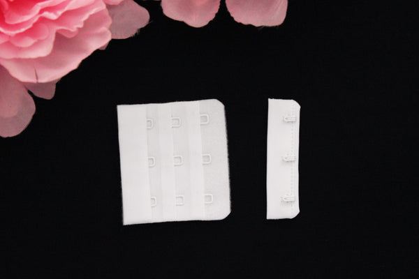 1 Set White Bra Hook & Eye 3 Rows 2.25""