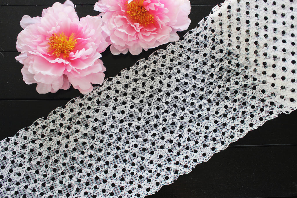 "1 YD of 8.25"" White Floral Black Polka Dots Stretch Lace for Bramaking Lingerie"