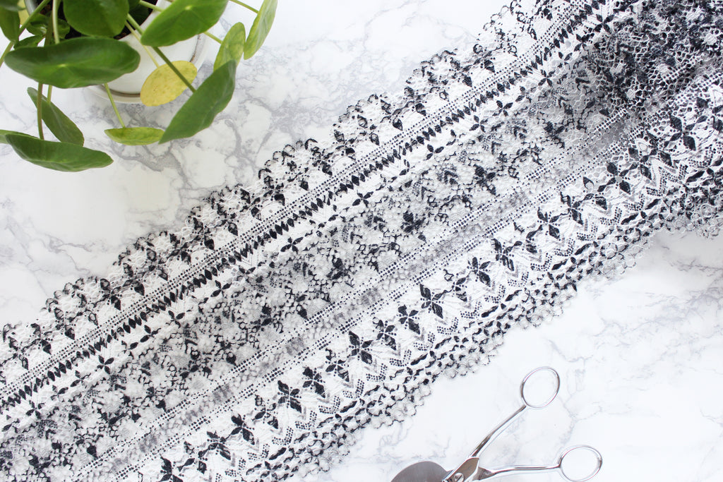 "1 YD of 8.25"" White Black Gray Crochet Stretch Lace for Bramaking Lingerie"