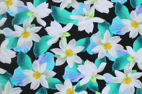 1/2 YD White Florals Repeat Black Ground Swimwear Fabric