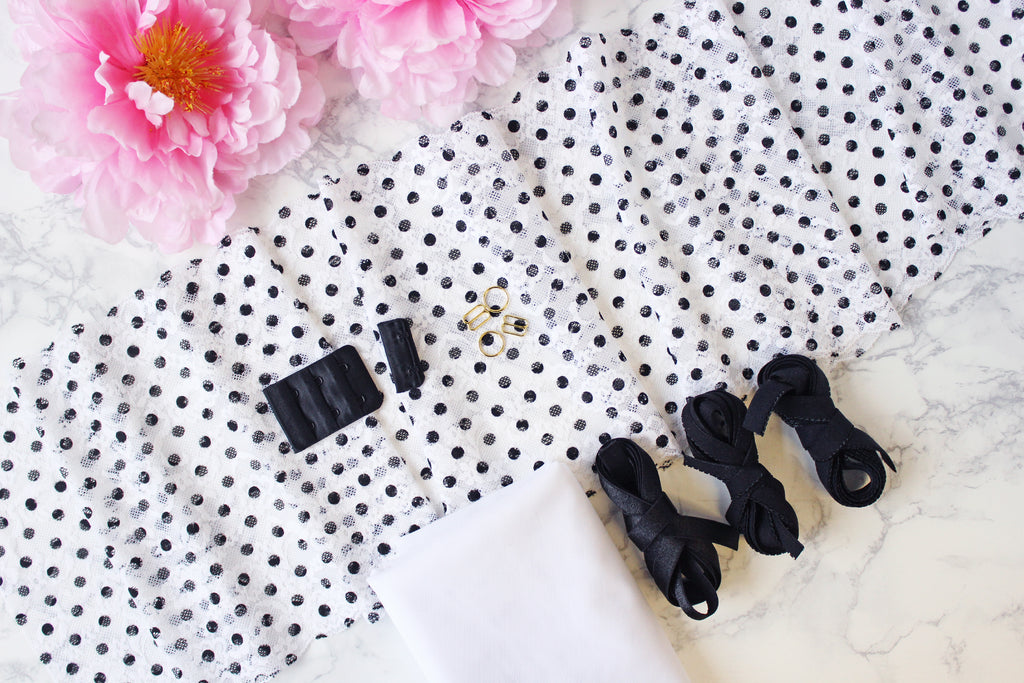 DIY Soft Bra Kit White Floral Black Polka Dots