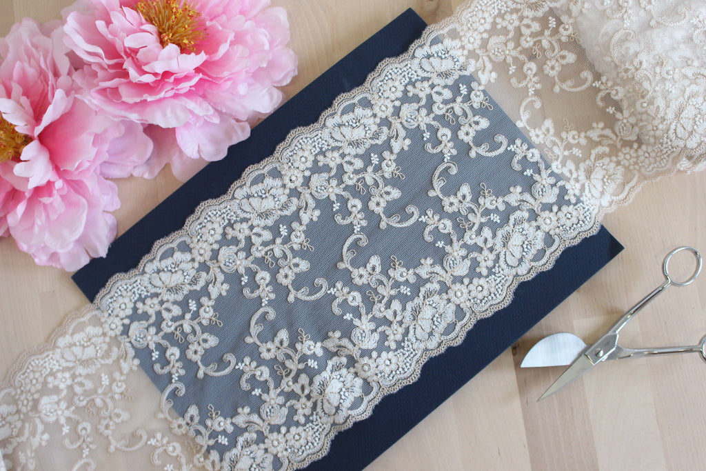 "1 YD of 7"" White/Beige Floral Embroidered Tulle Lace Non-Stretch"