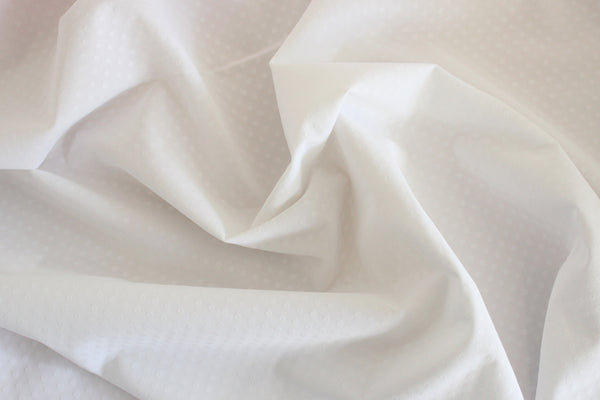 1/2 YD White Embossed Dot Firm Lingerie Satin Bra Making Cups & Frame Fabric - LIMITED EDITION!