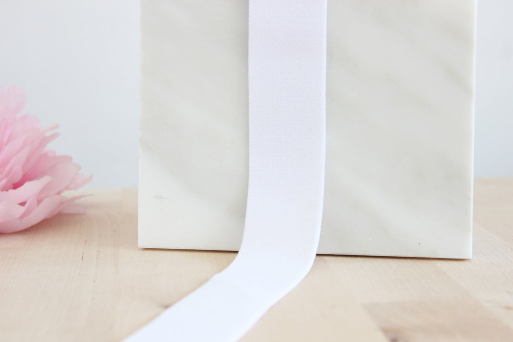 "1 3/8"" (35mm) White Plush Wide Elastic - Perfect for Bralette or Bra Bands or Underwear Waistbands! - NEW ELASTIC QUALITY!"