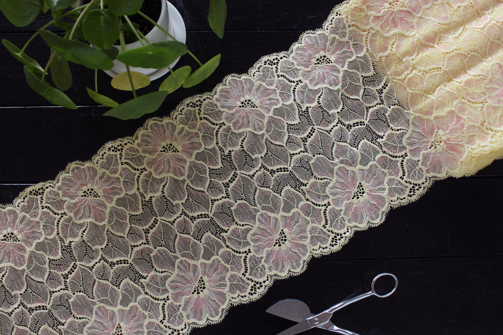 "1 YD of 9.5"" Yellow Pink Floral Stretch Lace for Bramaking Lingerie"