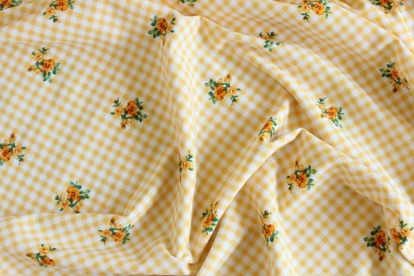 1/2 YD Yellow Orange Gingham Floral Swimwear Activewear Fabric
