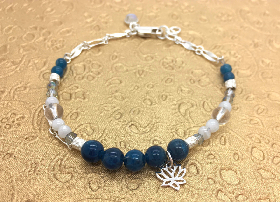Blue Apatite and Moonstone Beaded Bracelet for Spiritual Insight