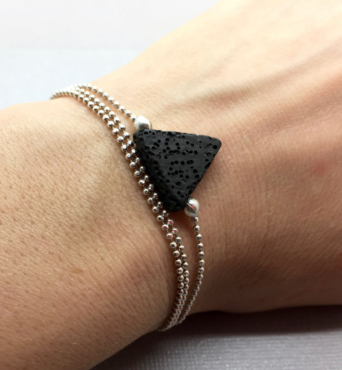 Boho Layered Bracelet with Triangle Lava Bead