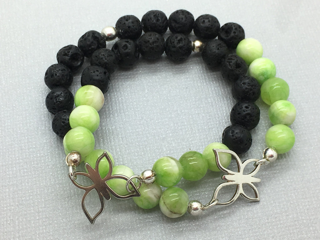 Green Mountain Jade Butterfly Mother and daughter Bracelet Set