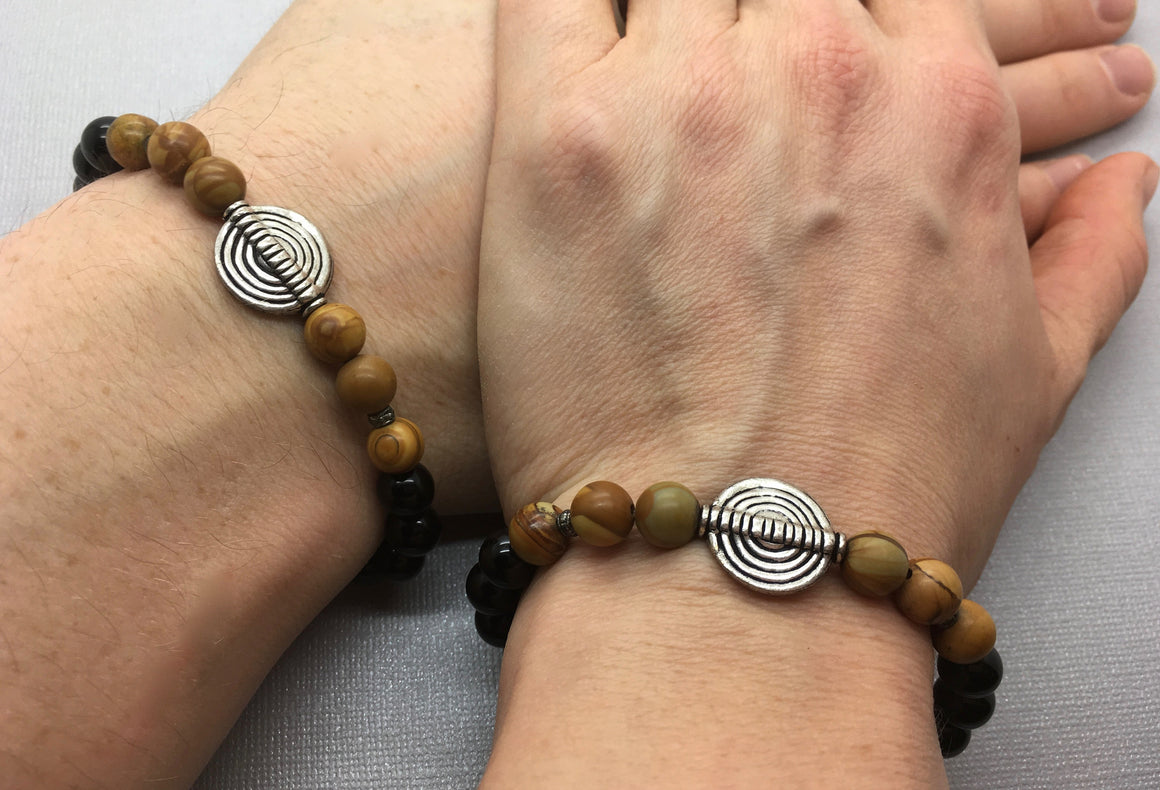 Black Onyx & Wood Jasper Couple's Bracelets