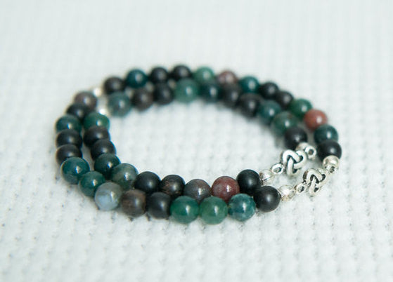 Father and son jewelry, father and daughter, dad gift, groomsmen gift, bloodstone beaded men's bracelet, mommy and me