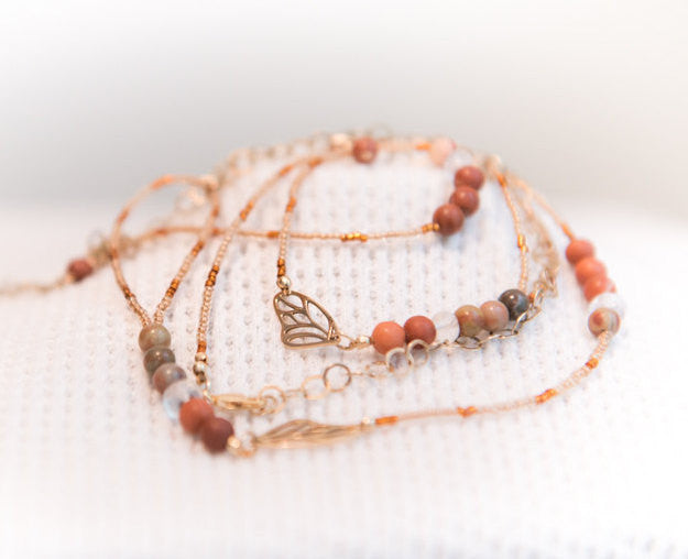 Mommy and Me, Cinnamon peach and gold butterfly wing wrap charm bracelet, mom gift, mother and daughter jewelry
