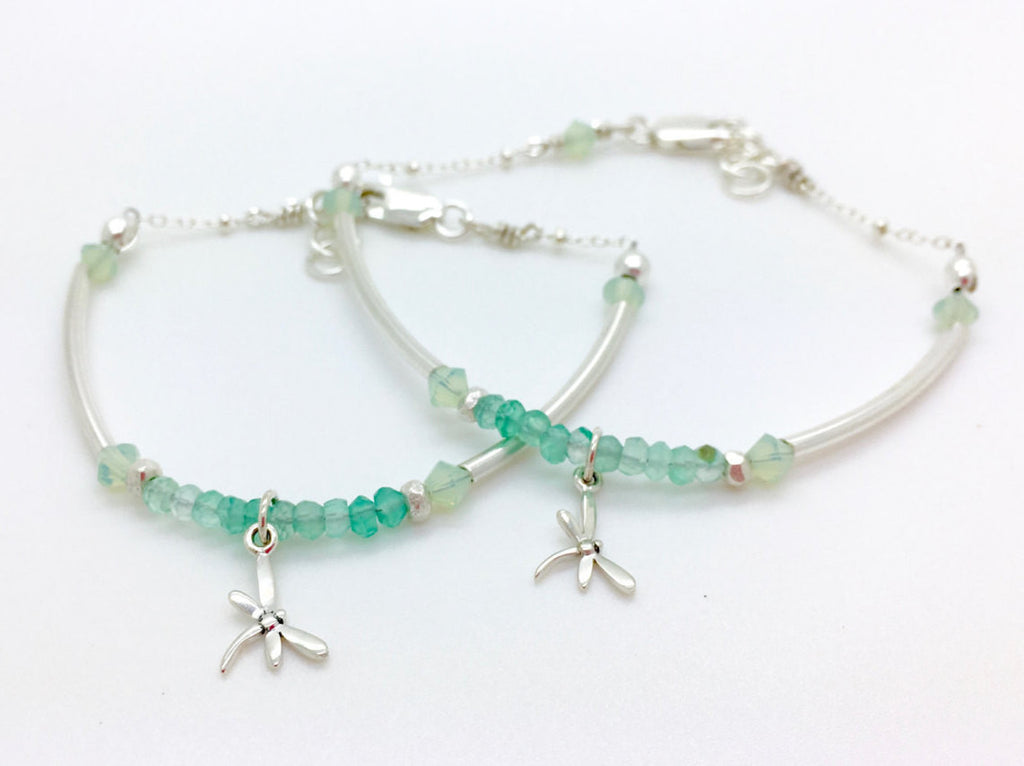 Mother Daughter Jewelry, Mommy and Me, Green Onyx beaded bracelet, bridesmaid gift, adoption gift, mom gift, baptism gift, healing gemstone jewelry