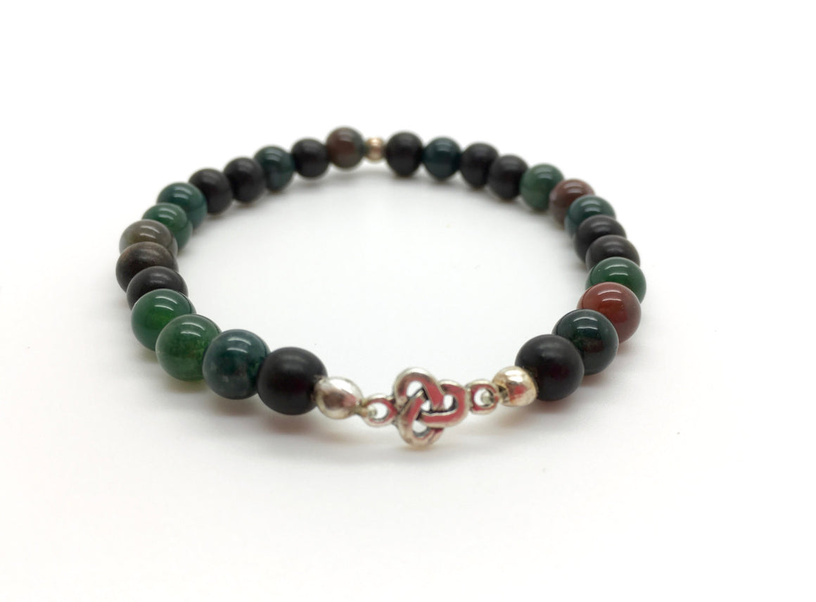 Bloodstone Beaded men's bracelet, Mama's Linkz metaphysical jewelry