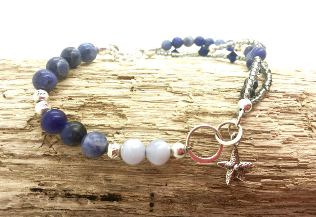 Nautical Layered Beaded Bracelet, Blue Lace Agate and Blue Sodalite Semi-Precious Gemstones, Mama's Linkz Jewelry