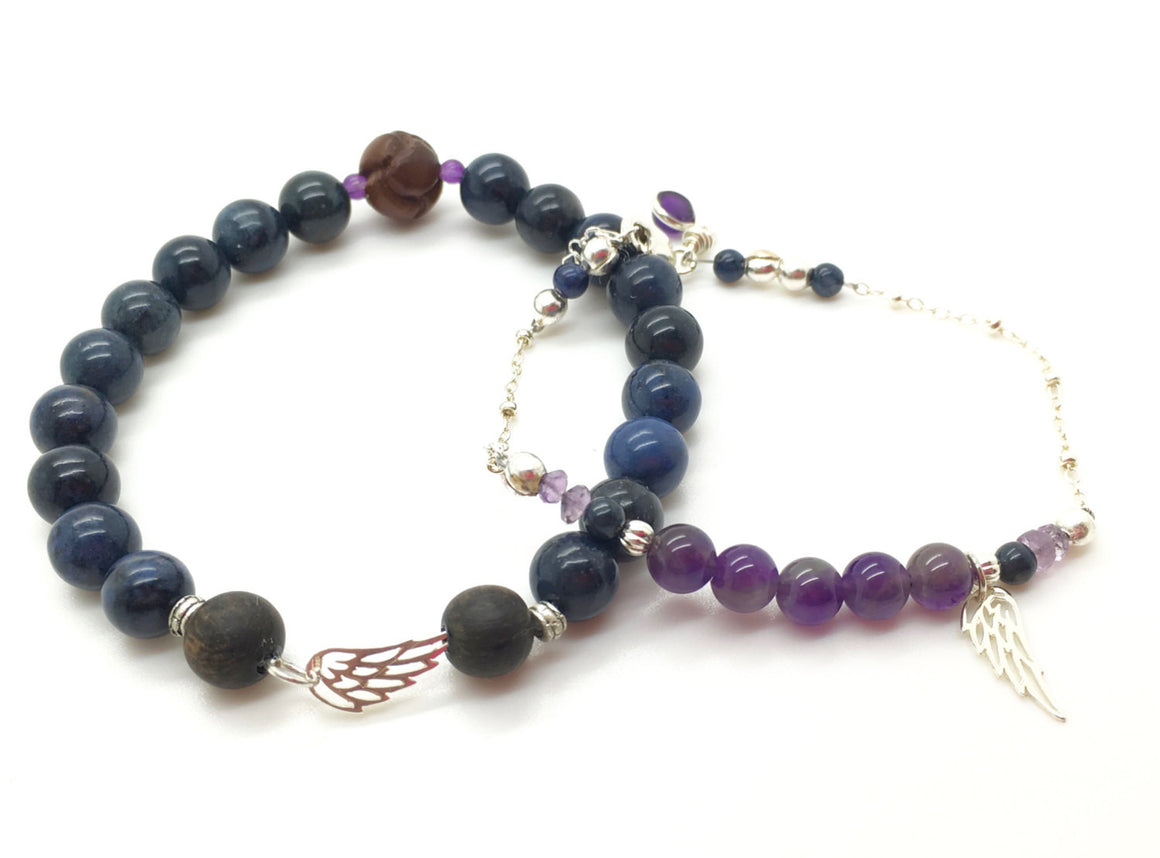 Memorial bracelets, Bracelet set, Mother Daughter Jewelry, Amethyst beaded bracelet, mommy and me, mom gift, healing gemstone jewelry