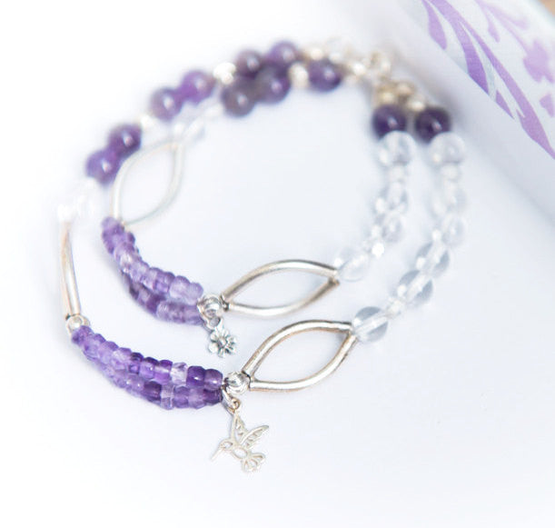 Mother Daughter Jewelry, Amethyst beaded bracelet, mommy and me, mom gift, healing gemstone jewelry