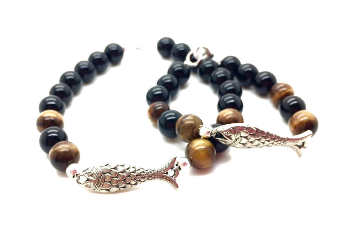 Father and son jewelry, father and daughter, groomsmen gift, tiger eye and black onyx beaded men's bracelet, mommy and me