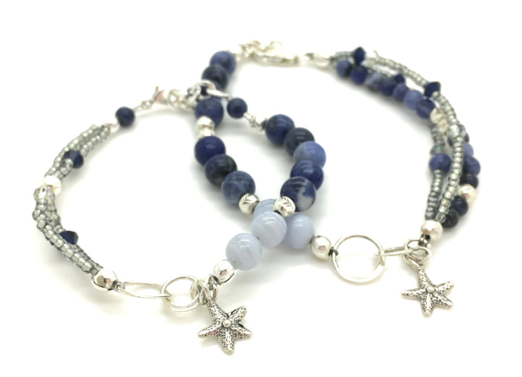 Mother Daughter Jewelry, Mommy and Me, nautical beaded bracelet, bridesmaid gift, adoption gift, mom gift, baptism gift, healing gemstone jewelry