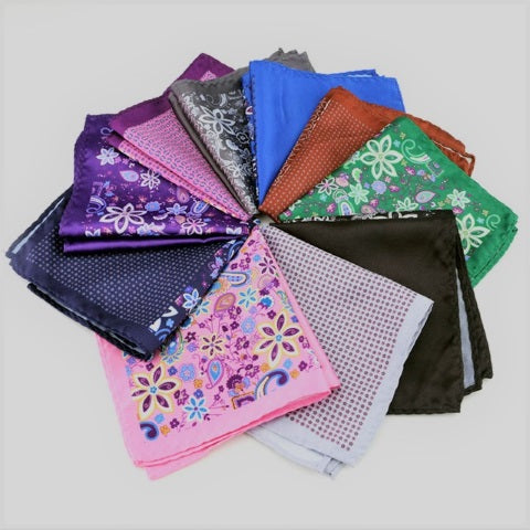 Collection of men's patterned pocket squares accessories