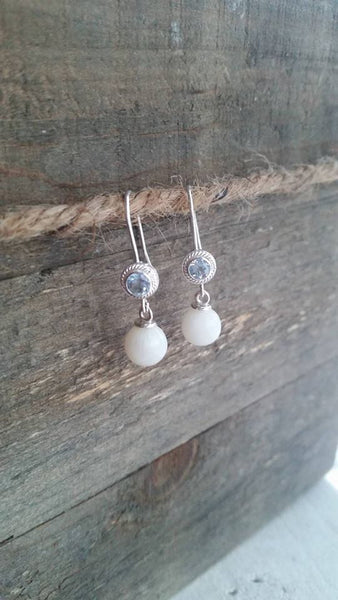 Breastmilk pearl earrings with gemstone accents